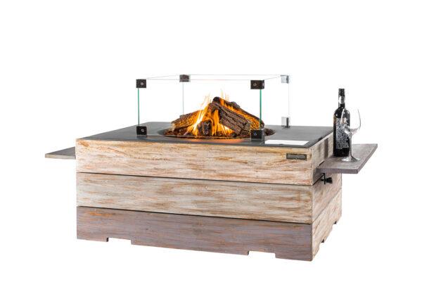 Happy cocooning cocoon table Rectangulaire Nice&Nasty en Teck Anthracite+ Encadrement En Verre  + Side Table