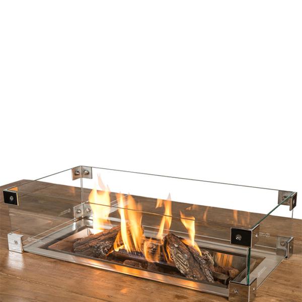 Cocoon Table Encadrement En Verre Brûleur Encastrable Rectangulaire Petit