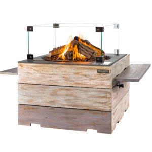happy cocooning cocoon table Vierkant Nice&Nasty Teak Antraciet + Glazen ombouw + Side Tables